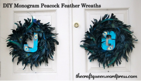diy monogram peacock feather wreaths