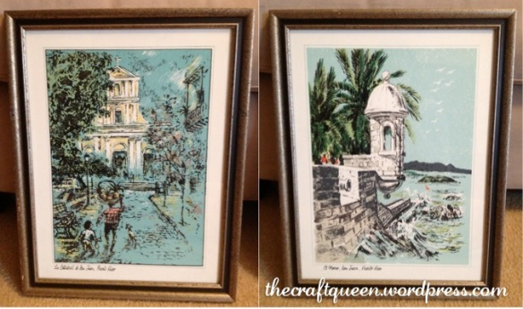 Framed prints, $3 each @ Goodwill (I will be painting the frames to freshen these up!)