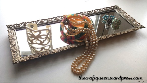 antique mirror jewelry tray display