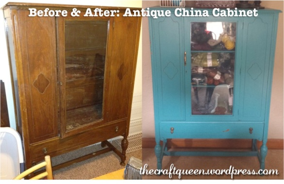before and after antique china cabinet