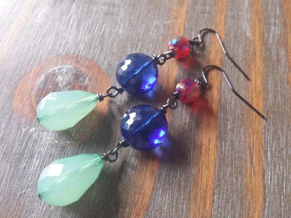 faceted glass bead earrings