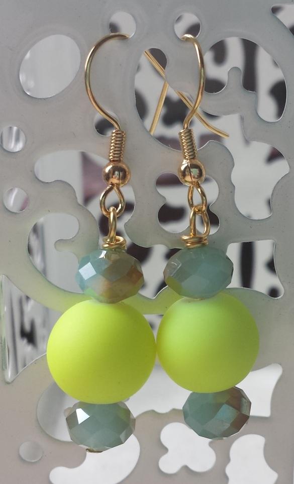neon yellow ceramic earrings
