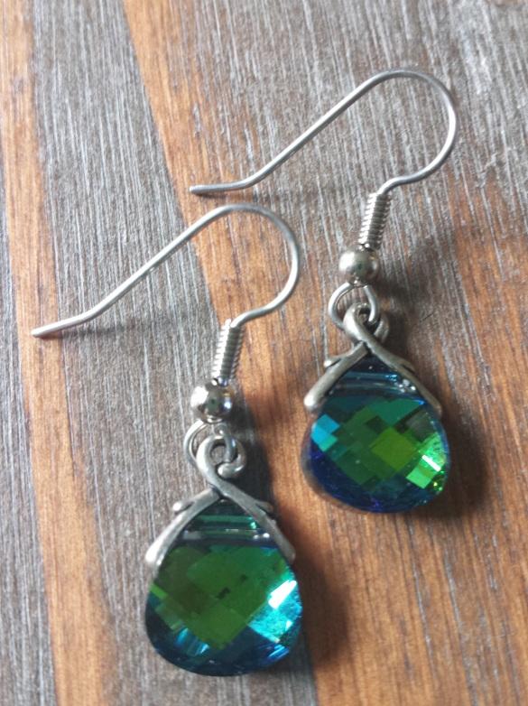 peacock swarovski crystal earrings