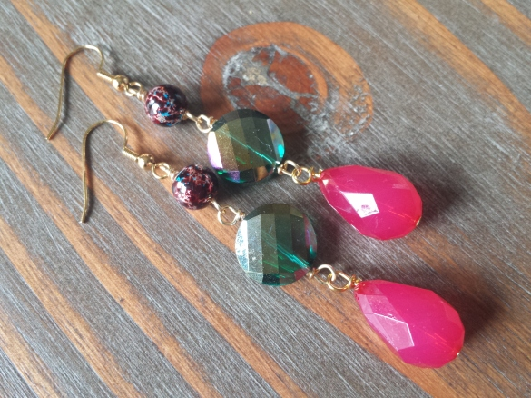 faceted glass earrings hot pink