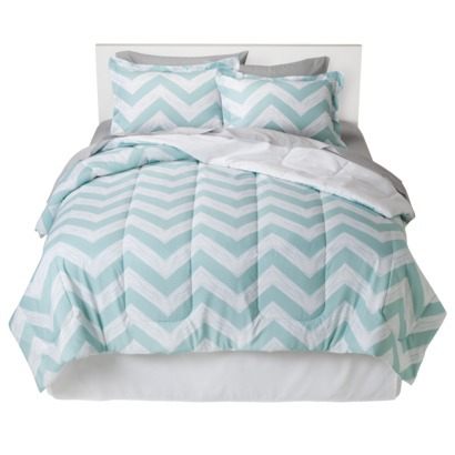 mint chevron bedding
