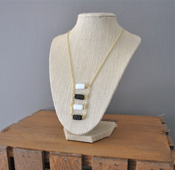 Buy it on Etsy here: https://www.etsy.com/listing/212943264/black-and-white-domino-ladder-necklace